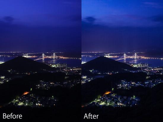 RAW現像の前後を比較した夜景写真